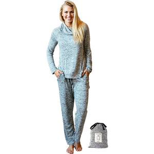 Hello Mello Carefree Threads, Top and Pant Matching Set With Drawstring Bag, Melange