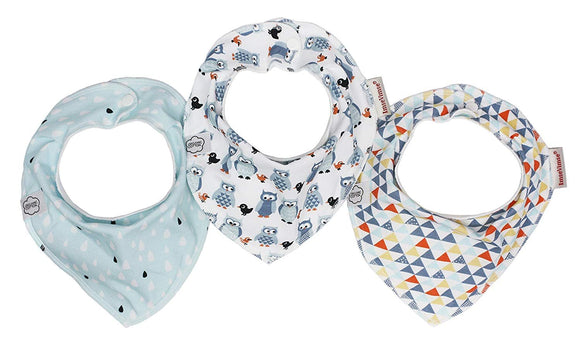 ImseVimse - Baby Bandana Teething and Drool Bibs - Absorbent Organic Cotton with Safe Nickel Free Snaps for Newborn and Toddlers - Pack of 3 Stylish Unisex Bibs for Boys and Girls