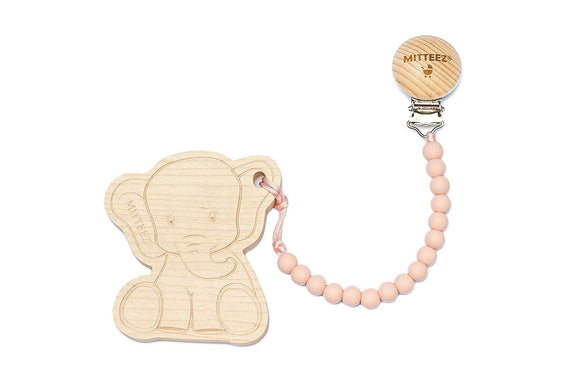 MITTEEZ Teething Buddies Wood Teether Toy and miniStrands Chewbeads and Pacifier Clip (Ella The Elephant - Gray)