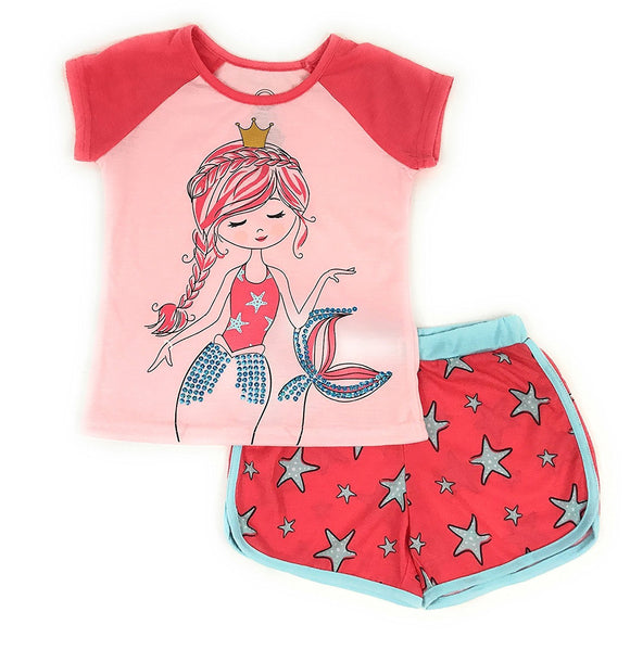 Wonder Nation Girls Graphic Short Sleeve Top and Shorts 2-Piece Pajamas, Unicorn, Cat, Dog, Mermaid Styles (X-Small (4/5), Coral Mermaid)