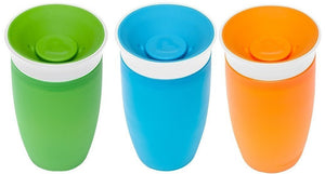 Munchkin Miracle 360 BPA Free Sippy Cup 10 ounce, 3 Count (Green Blue Orange)