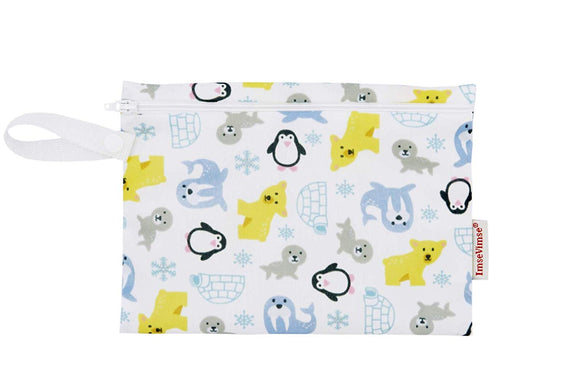 Imse Vimse Reusable Washable Wet Bags for Cloth Diapers (Snowland, Mini Zipper Bag)