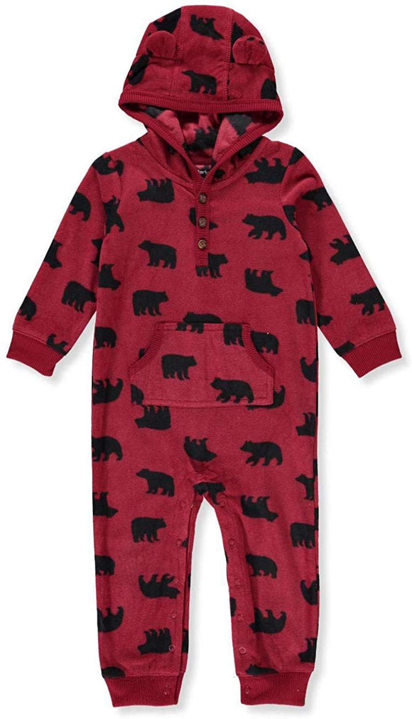 Carter's Baby Boys' One Piece Fleece Jumpsuit Red Bear, 9 Months
