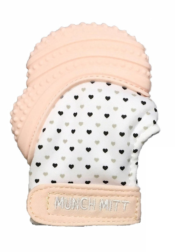 Munch Mitt Pastels Specialty Collection- Original Silicone Teether Mitten- Like Teething Toys or Teething Ring Provides Self-Soothing Fun- Ideal Baby Shower Gift with Handy Travel Bag