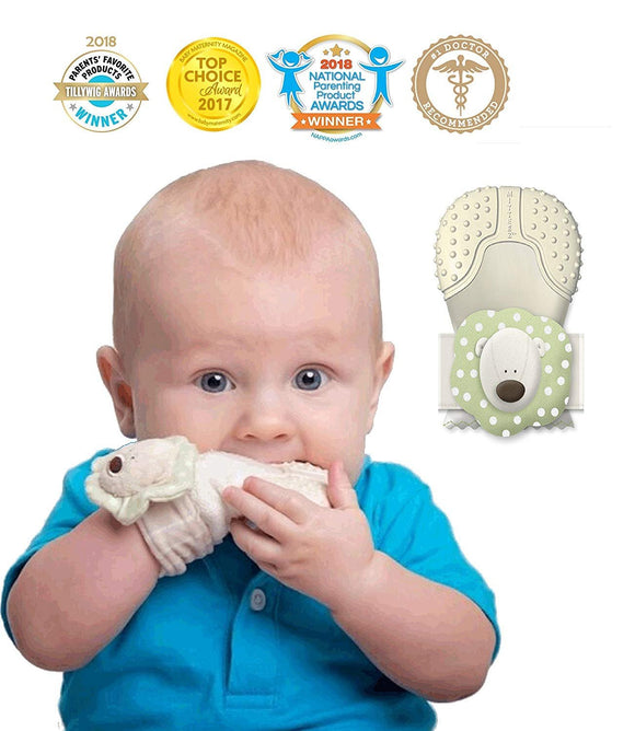 MITTEEZ Organic Premium Teething Mitten and Keepsake for Babies 0-6 Months - Pink