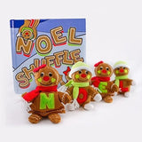 Noel Shuffle Gift Set - Christmas Family Game with (4) Plush Gingerbread Dolls and Book, Fun Holiday Tradition