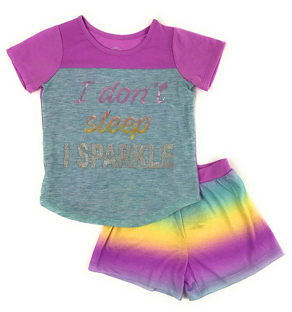Girls Graphic Short Sleeve Top and Shorts 2-Piece Pajamas, Unicorn, Cat, Dog, Mermaid Styles (X-Small (4/5), Purple Sparkle)