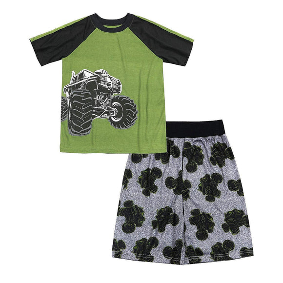 Wonder Nation Boy's 2 Piece Pajama Sleepwear Set (Small 6/7, Light Grey Heather Dinosaur)