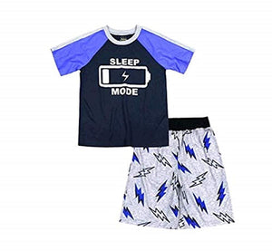 Boy's 2 Piece Pajama Sleepwear Set (X-Small 4/5, Navy Blue Sleep Mode)