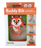 The Makers of the Munch Mitt Introduce the Buddy Bib, 3 in 1 Bandana Drool Bib - Sensory Toy, Teething Ring, Plush Pacifier Holder - T-eething Rex