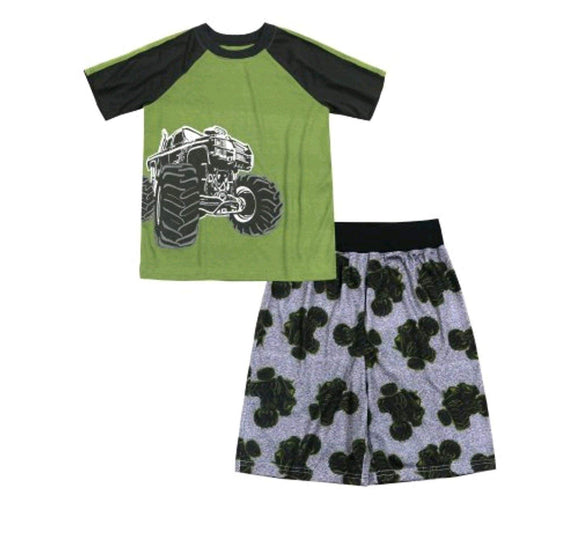 Wonder Nation Boy's 2 Piece Pajama Sleepwear Set (X-Large 14/16, Green Monster Truck)