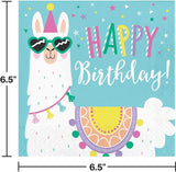 Llama Party Birthday Bundle Pack for 16 Guests- Includes 8 foot Ribbon Happy Birthday Banner and Napkins