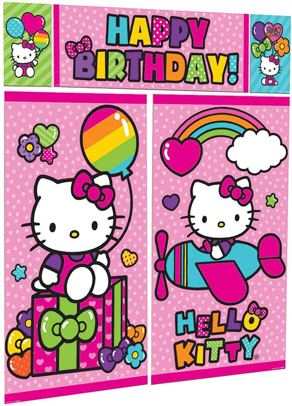 Amscan 670369 Scene Setters Wall Decorating Kit | Hello Kitty Rainbow Collection | Birthday 59