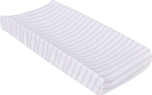 MiracleWare Muslin Changing Pad Cover, Pink and Gray Stripes