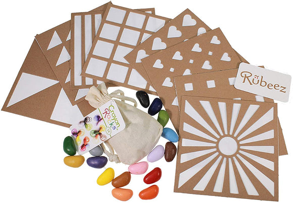 Crayon Rocks, Art Coloring Set, Arts & Crafts for Kids Ages 3 and Up - Includes 8 Eco-Board Templates, 16 Crayons, 6 Color Pencils