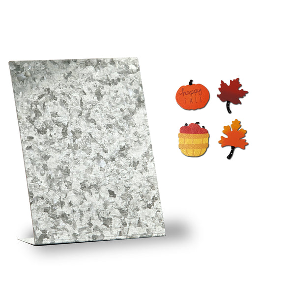 Galvanized Metal Photo Board Home and Office Decor Includes Fall Magnet Set, by Roeda Studio