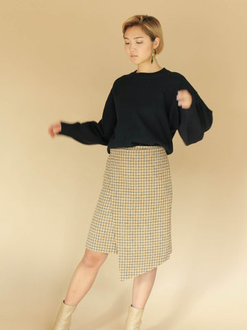 Yellow Checkered Draped Wool Skirt