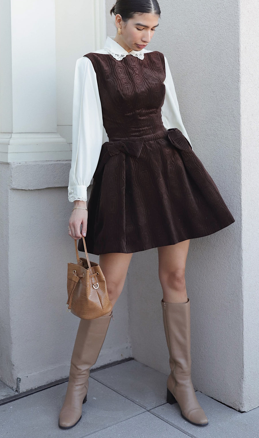 Vintage 60s Brown Velvet Mini Dress