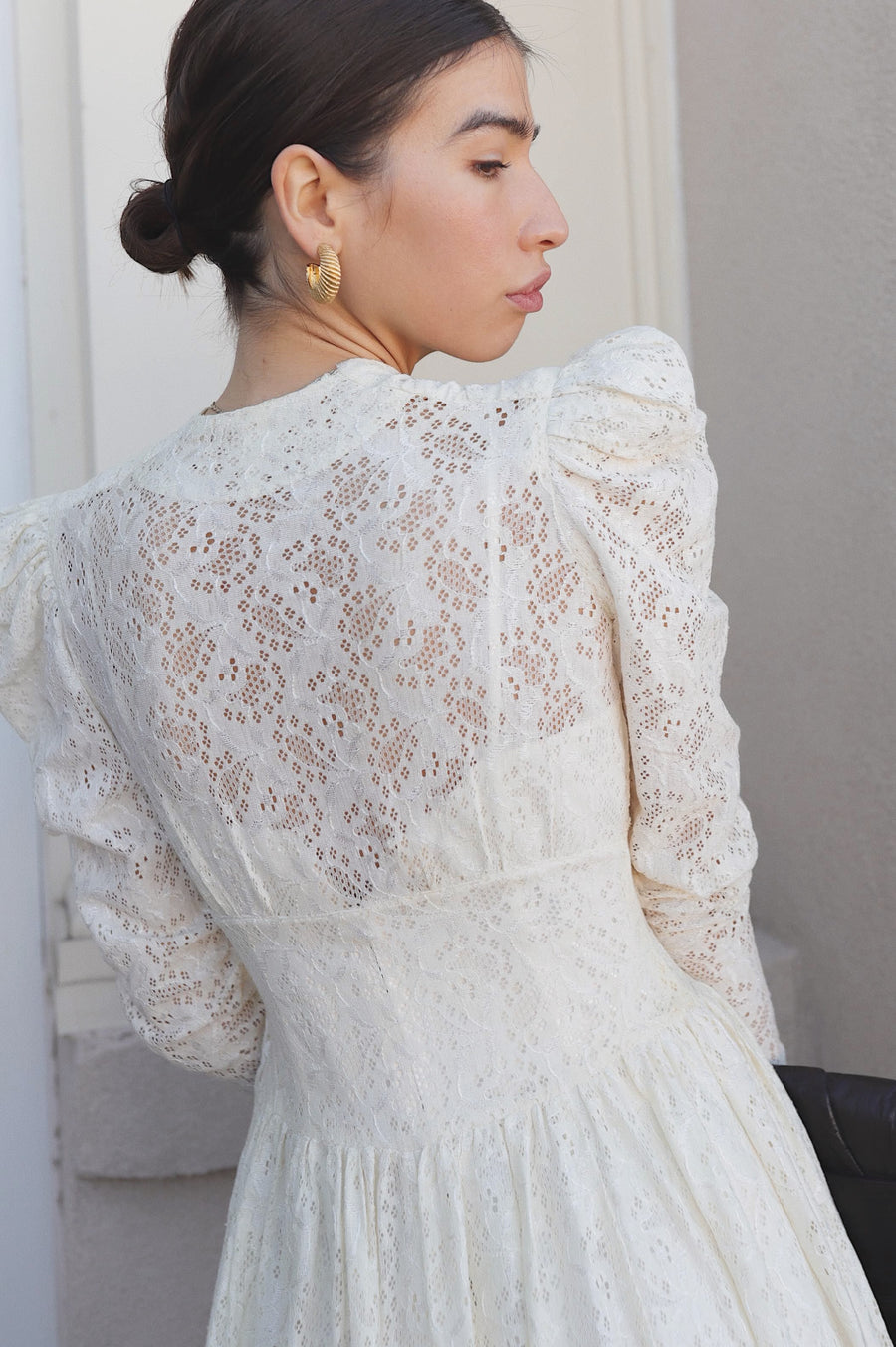 Vintage 1930s White Lace Puff Sleeve Gown