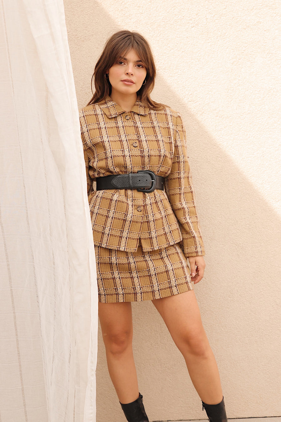 Vintage Green Plaid Mini Skirt/Jacket Set 30