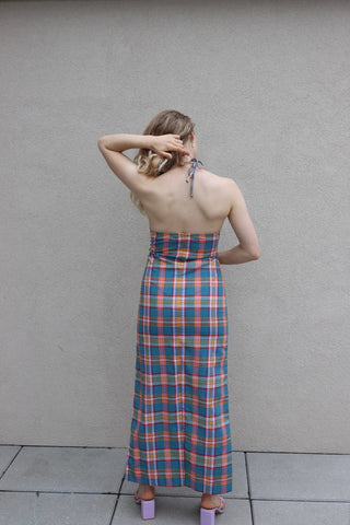 1970s Plaid Halter Dress