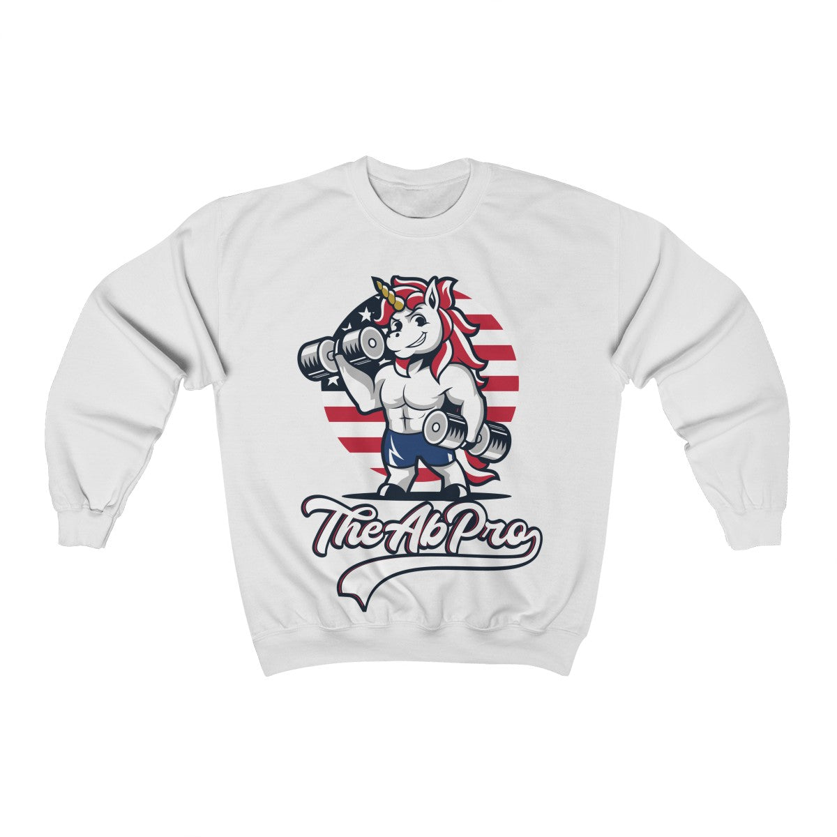 "American Unicorn Unisex Heavy Blend™ Crewneck Sweatshirt The Ab Pro - Fit Family Apparel by Erick ""The Ab Pro"""