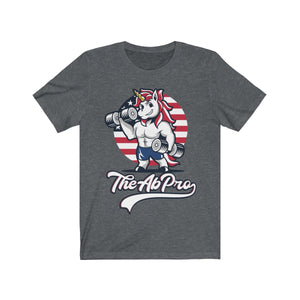"American Unicorn Unisex Jersey Short Sleeve Tee - Fit Family Apparel by Erick ""The Ab Pro"""