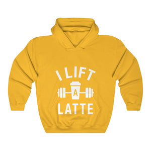 "I Lift A Latte Unisex Heavy Blend™ Hooded Sweatshirt - Fit Family Apparel by Erick ""The Ab Pro"""