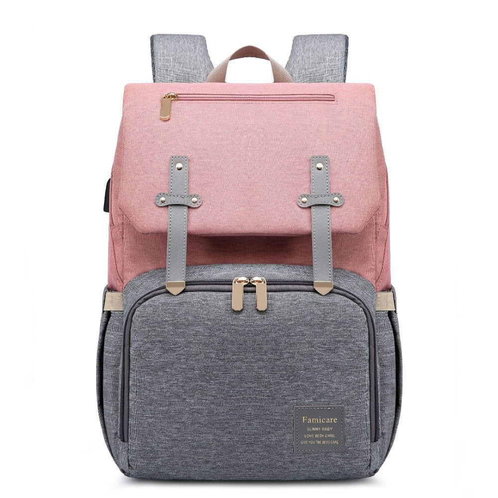 Rome USB Diaper Backpack Pink
