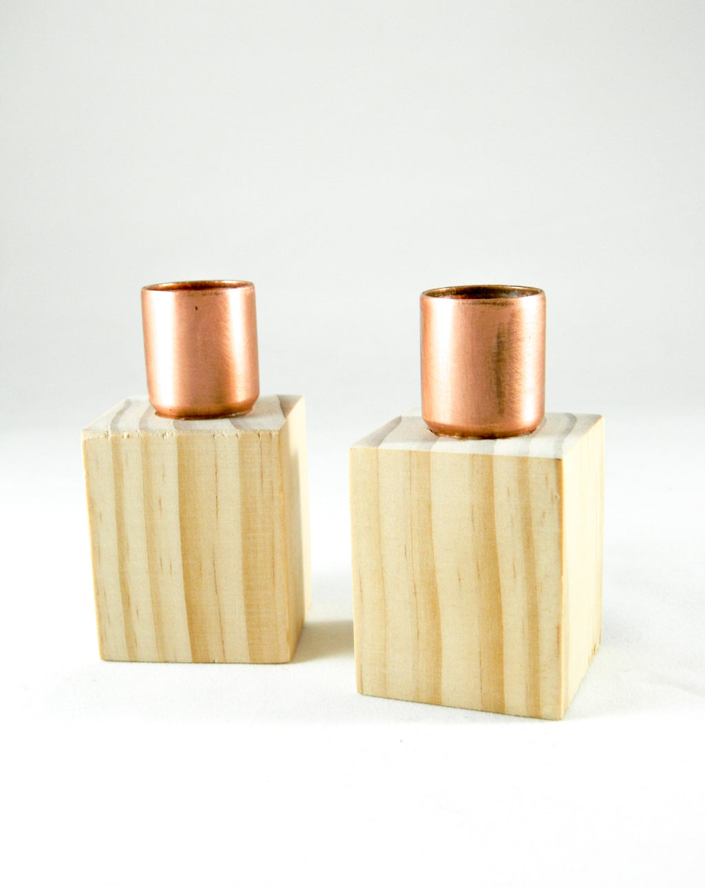 wood and copper candle holders, modern candle holders,