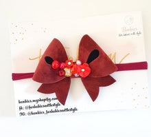 Load image into Gallery viewer, Dusty Red Velvet Bow