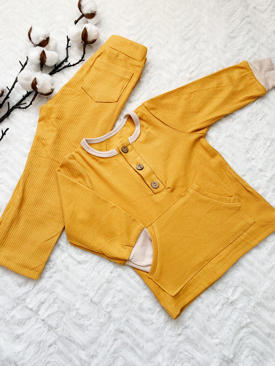 MMM The Label Hudson Two Tone Ribbed Set - Mustard