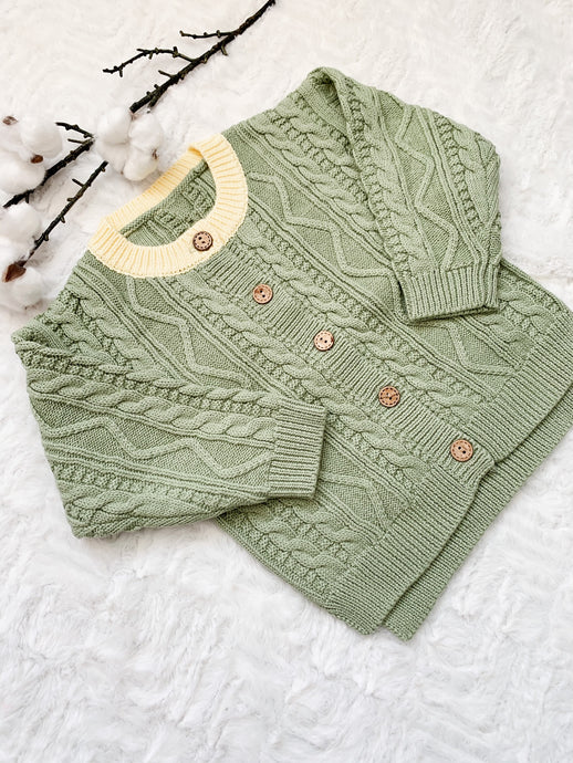 Aspen Cable Knit Cardi - Dusty Green