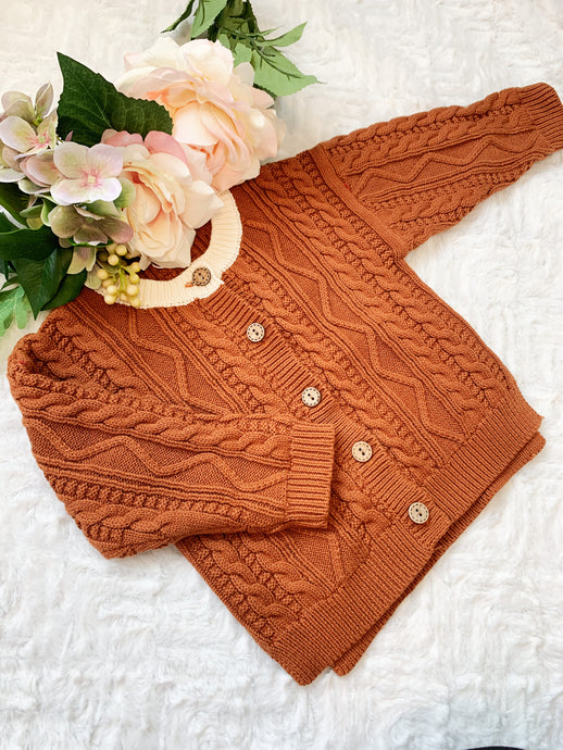 Aspen Cable Knit Cardi - Rust Brown
