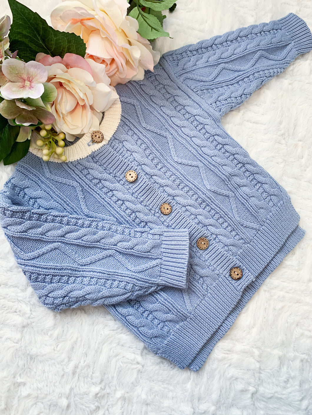 Aspen Cable Knit Cardi - Sky Blue
