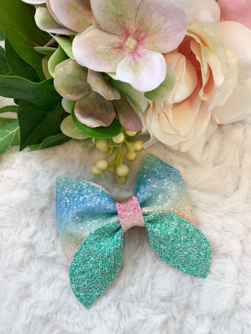 Mint Rainbow Sailor Bow
