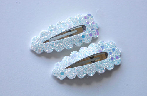 White Glitter Snap Clips (Set of two)