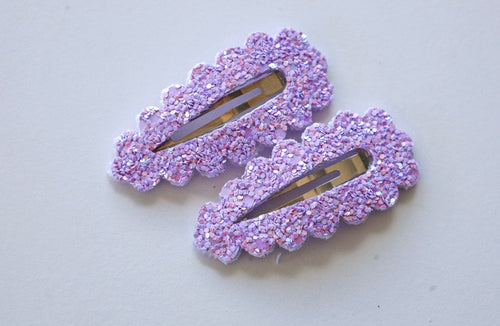 Light Purple Glitter Snap Clips (Set of two)