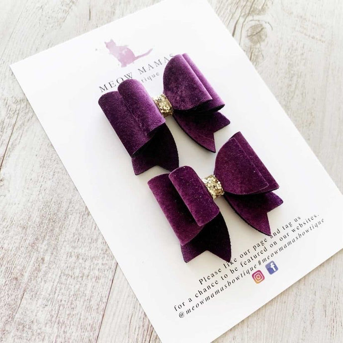 Purple Royale Pigtail Bow (Set of two) by Meow Mamas