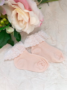 Vinty Lace Sock - Peach