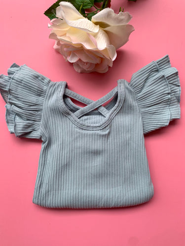 Dusty Blue Flutter Sleeve