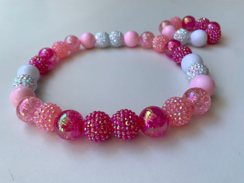 Pink Passion Handmade Bead Necklace and Bracelet Set