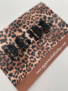 Ebony Leopard Pigtail Bow (Set of two)