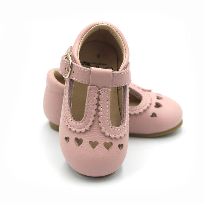 Pink Leather Sweetheart T-Bar Shoes