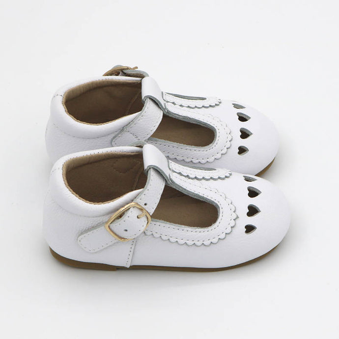White Leather Sweetheart T-Bar Shoes