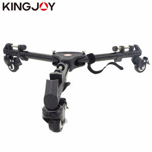 Kingjoy 3 Wheels Pulley Universal Folding Camera Tripod Dolly Base Stand Adjustable Leg Mounts Max Load 20KG For Camera