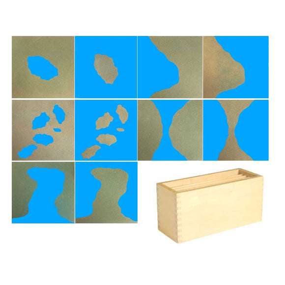 LAND AND WATER FORM CARDS * COLORED * DURABLE * SANDPAPER FEEL
