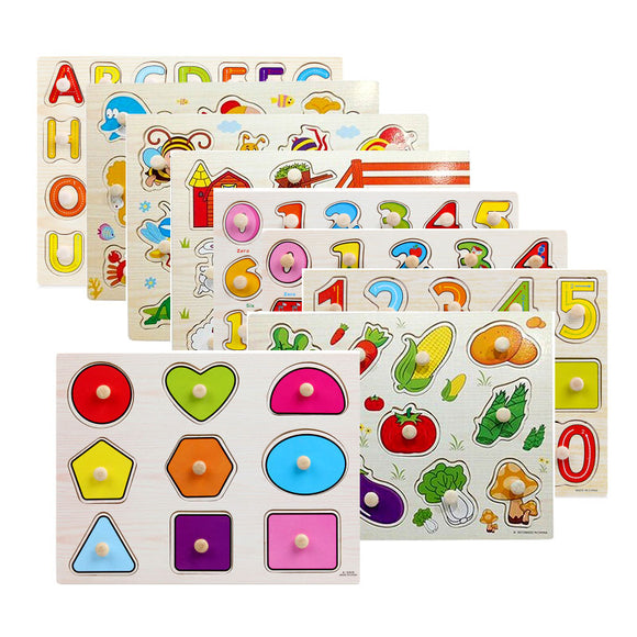 VARIETY OF KNOBBED PUZZLES * GEOMETRIC SHAPES & ANIMALS