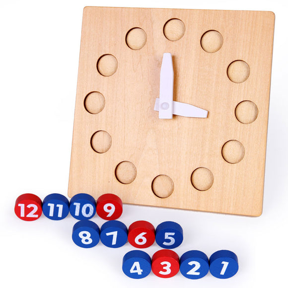 WOODEN CLOCK WITH DIALS