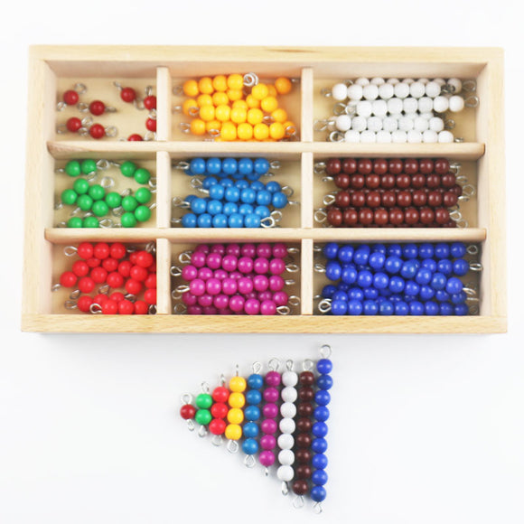 MATH MATERIALS * COLORED BEADS IN WOODEN BOX *